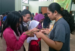 The youth during a team-building activity.