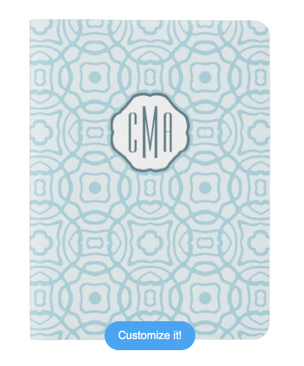 Signature Monogram Extra Large Moleskine Notebook Cover With Notebook