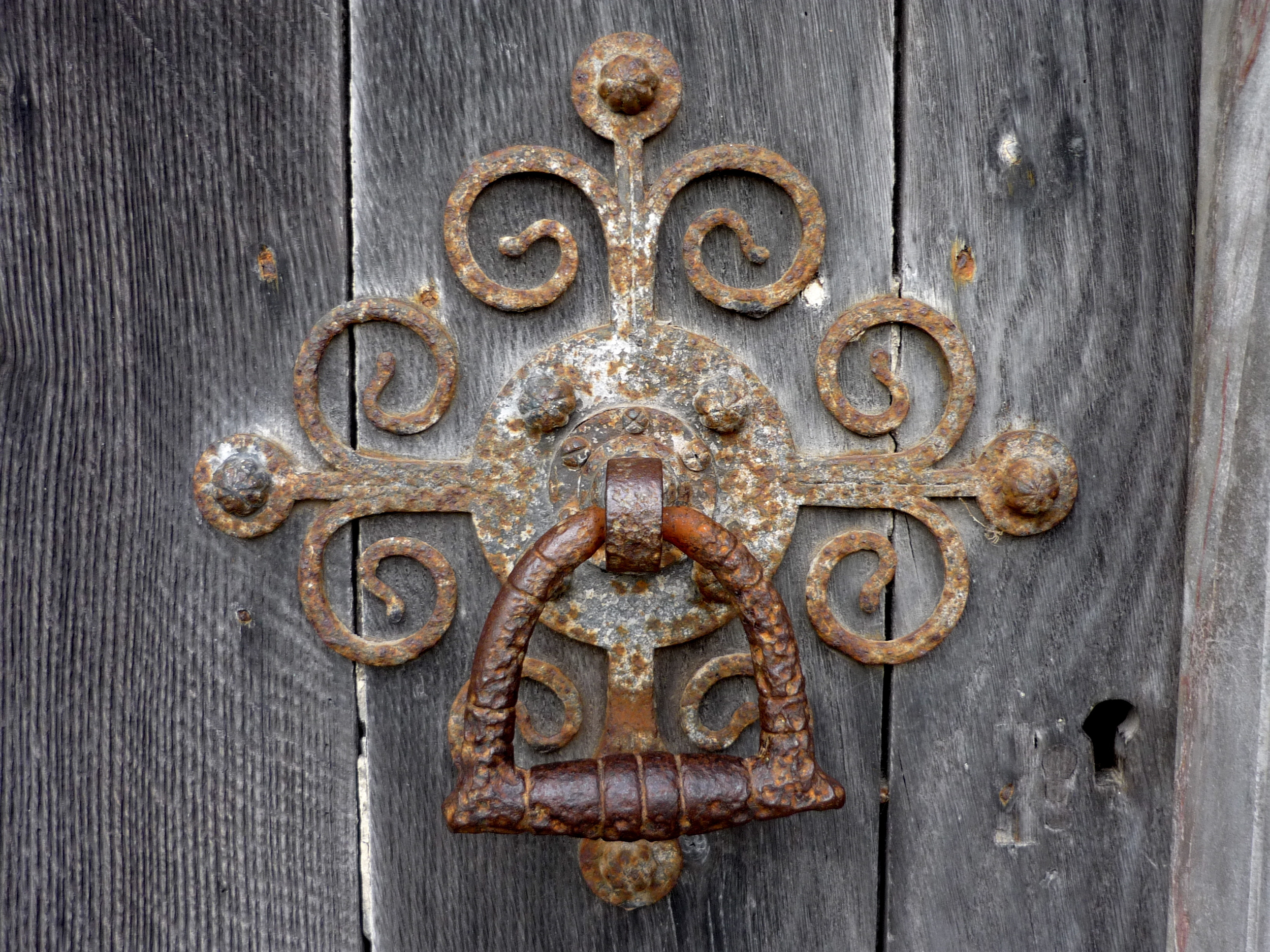 Door knocker on one of the main doors at the West Front of Salisbury Cathedral