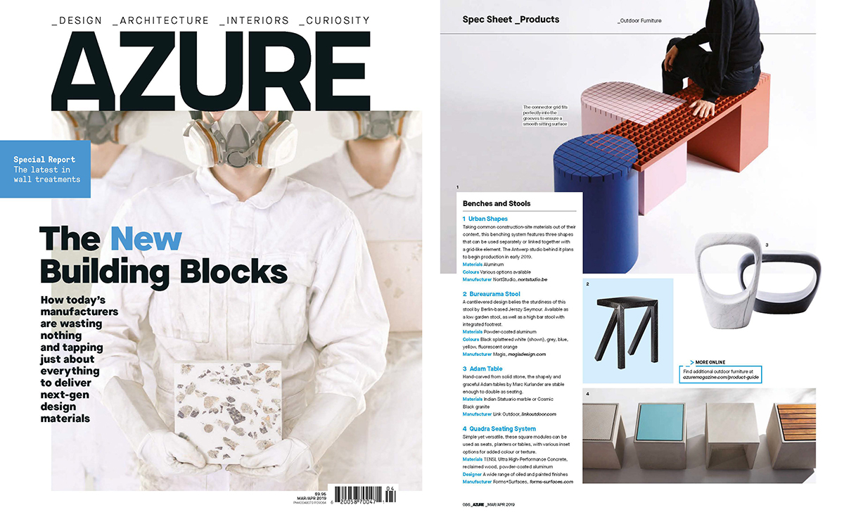 Azure Magazine  March/April 2019, featuring the  Adam Tables