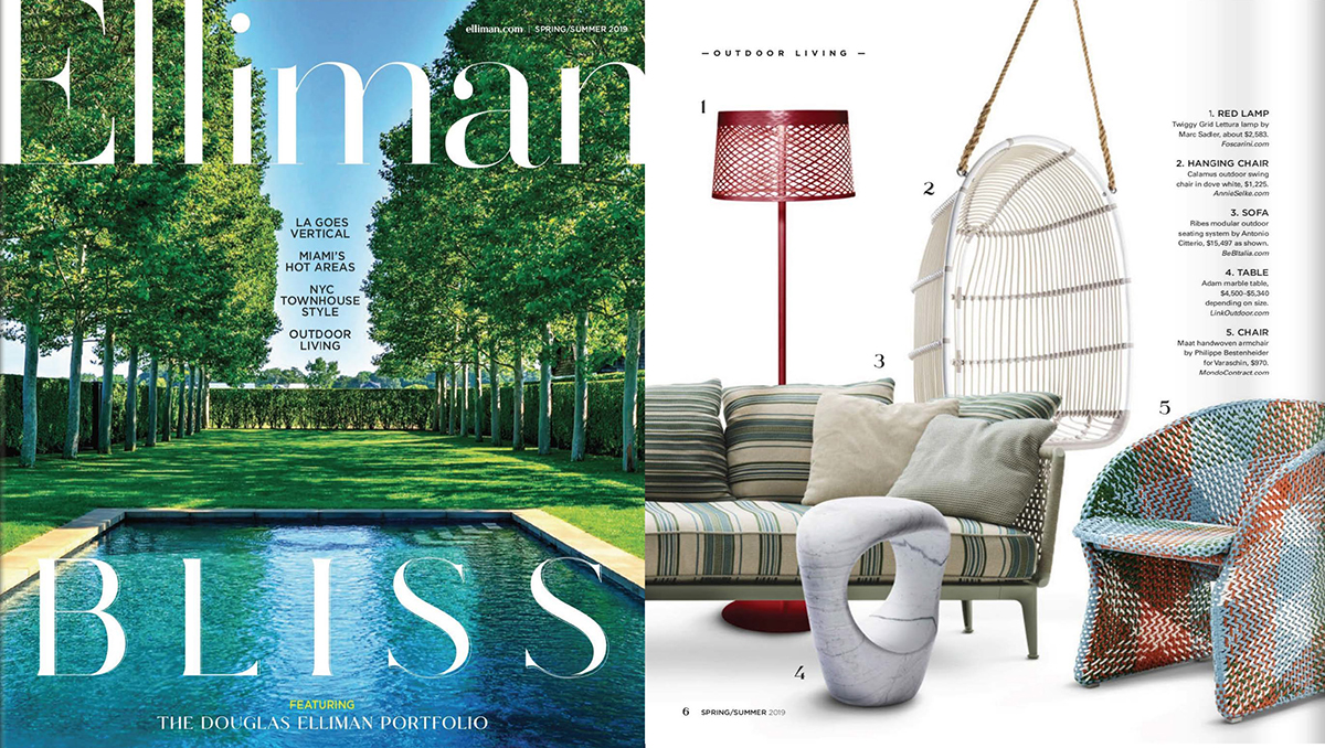 Elliman Magazine  Spring/Summer 2019, featuring the  Adam Table