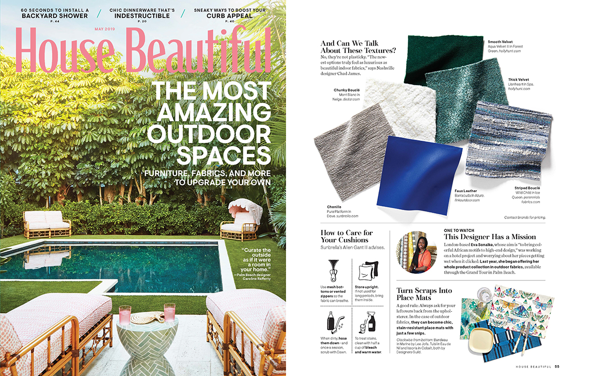 House Beautiful  May 2019, featuring  Barracuda in Azure
