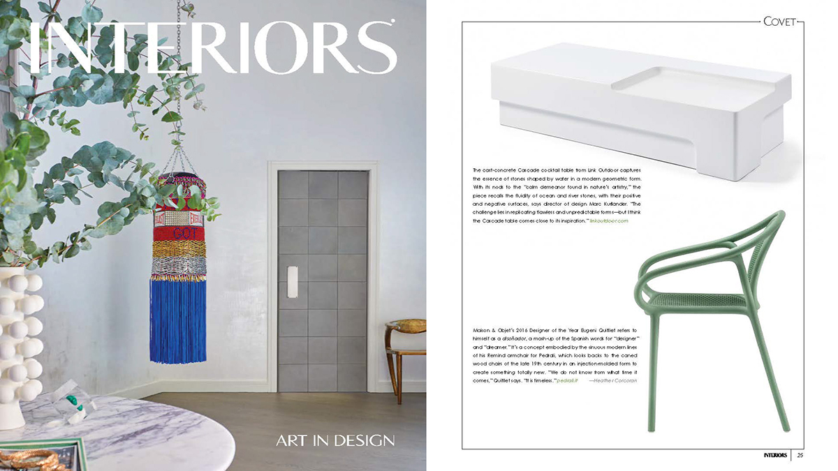 Interiors  May/June 2019, featuring the  Cascade Cocktail Table