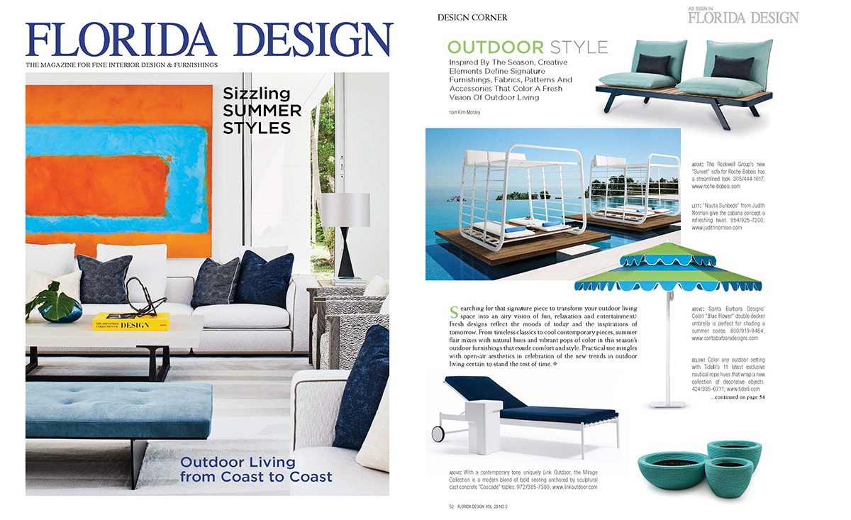 Florida Design , Summer 2019, featuring the  Mirage Chaise  and  Cascade Drink Table