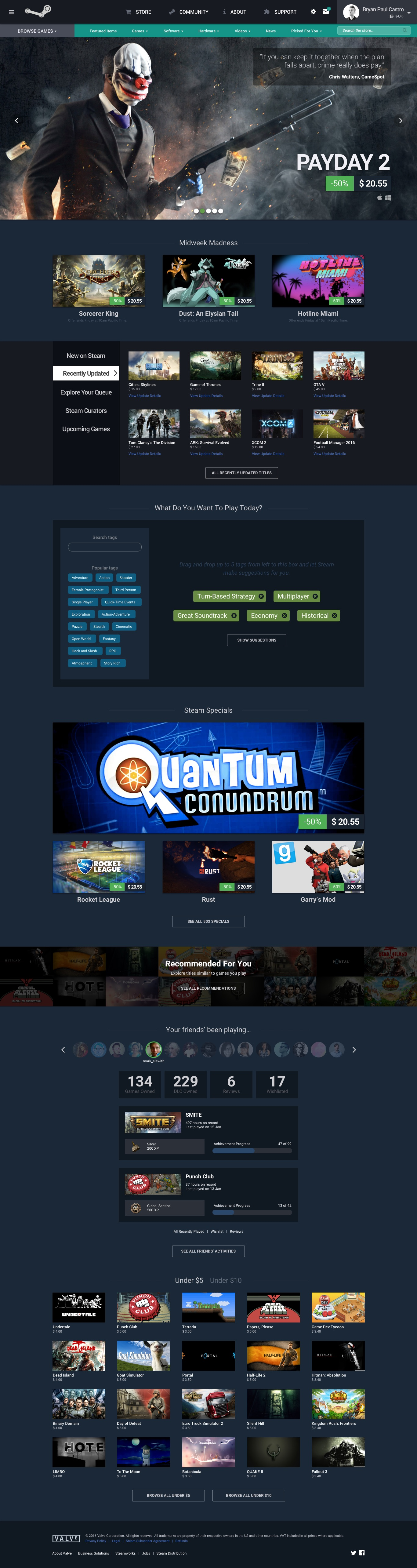 Concept for the new Steam front page