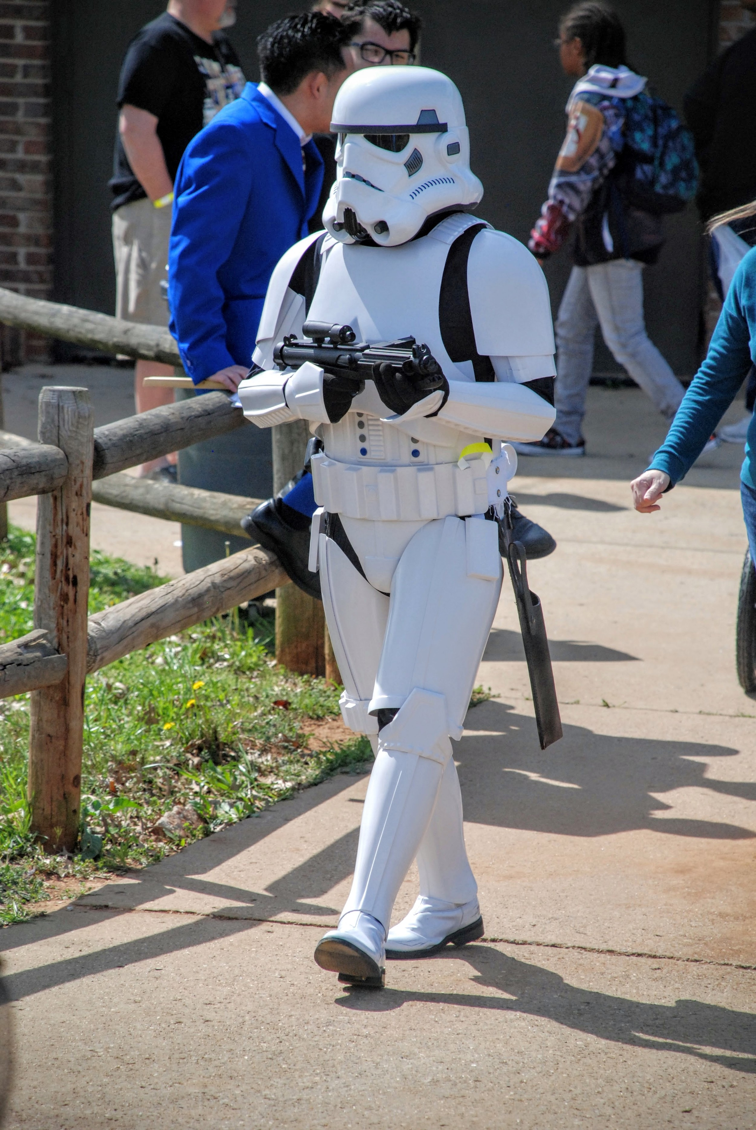 A Stormtrooper monitors the show floor for any Rebel activity...