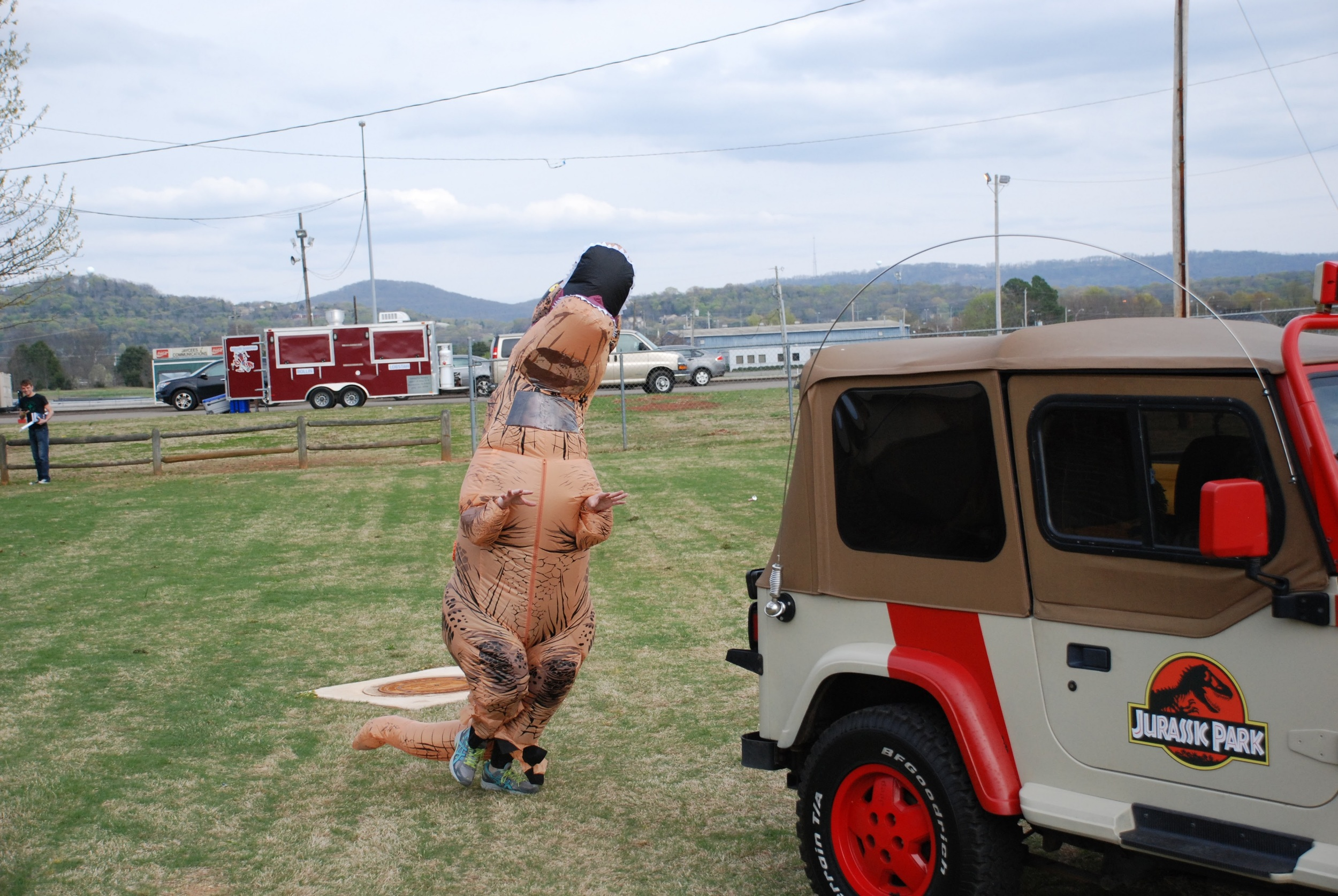 ..while this T-Rex relives some memories from Jurassic Park!