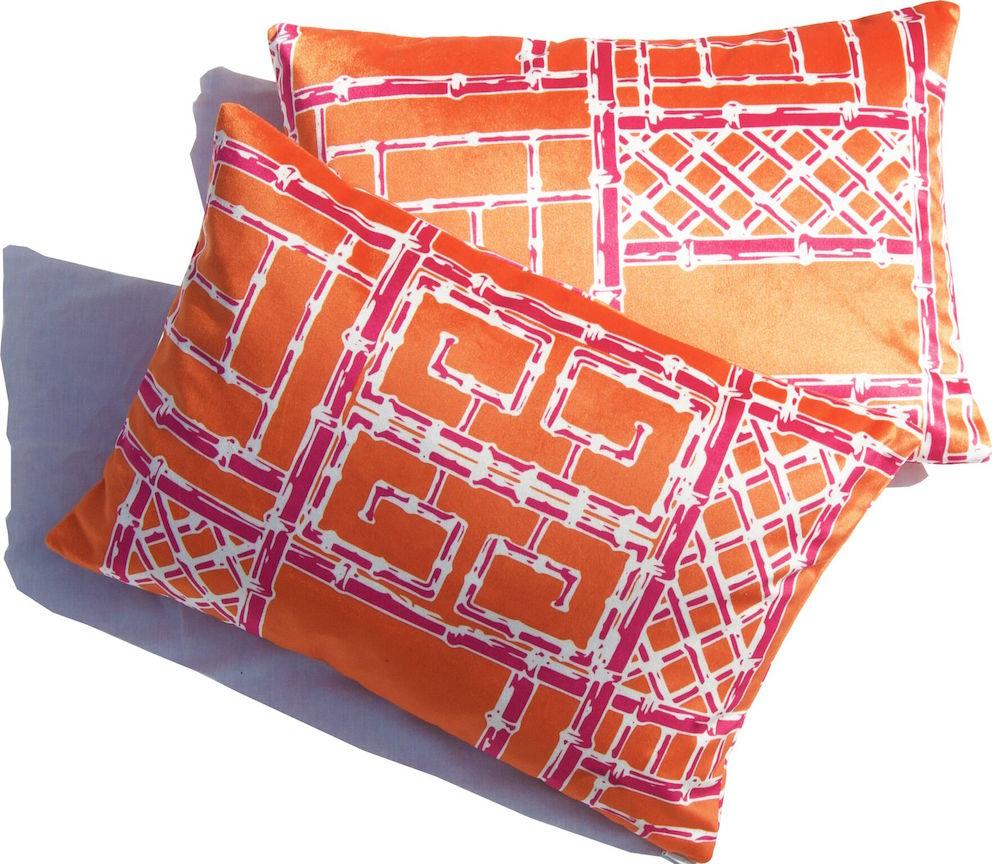 Bamboo Fretwork Lumbar Pillows_OrangeRaspberry_Velvet_preview.jpg