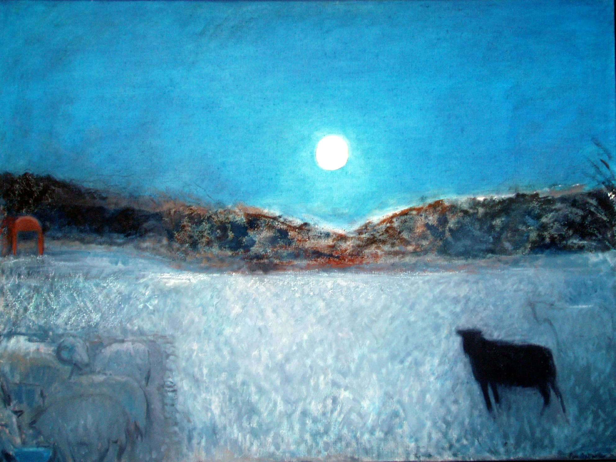 Unpenned Sheep and Moon, 98 x 120 cm, oil on linen