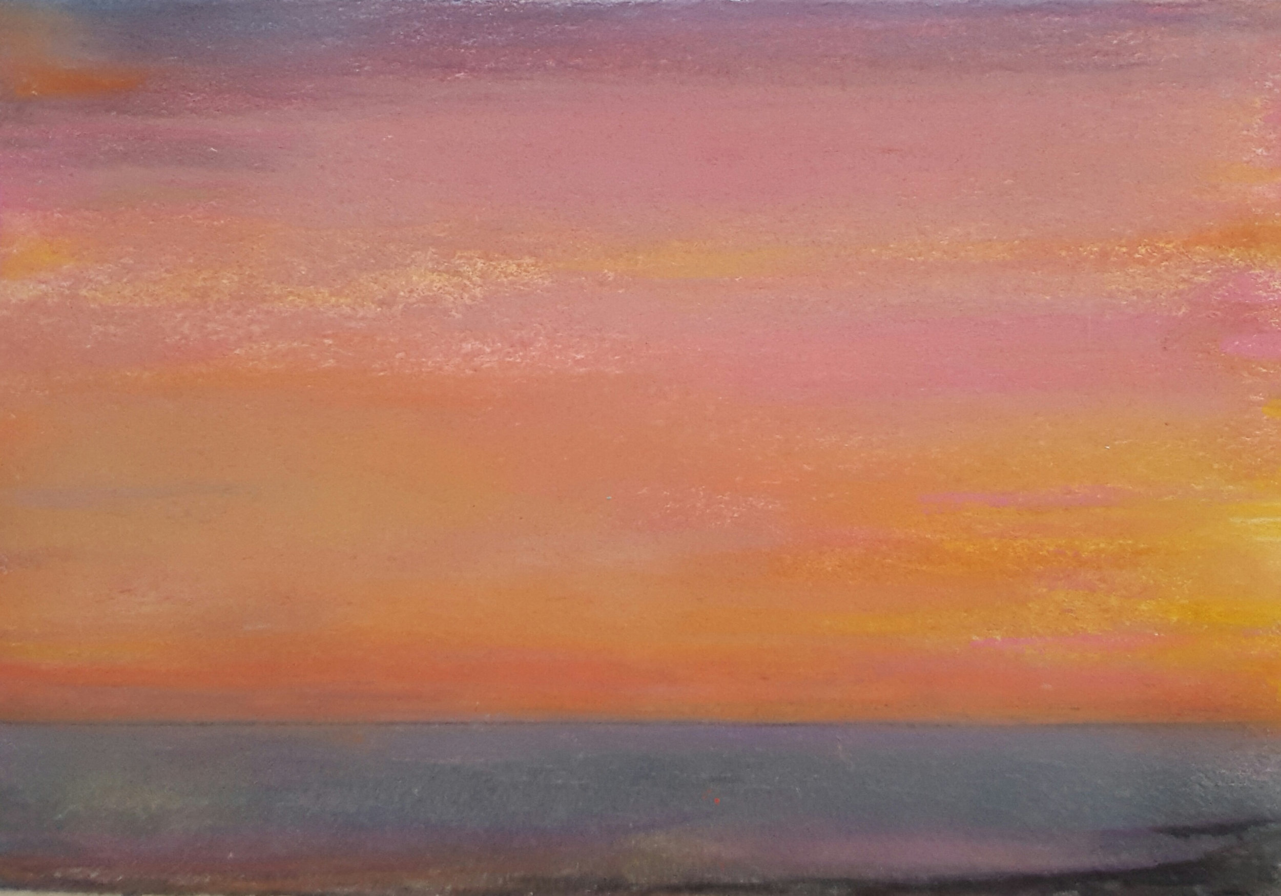 34 Sunset, 15x21cm, pastel and mixed media on paper