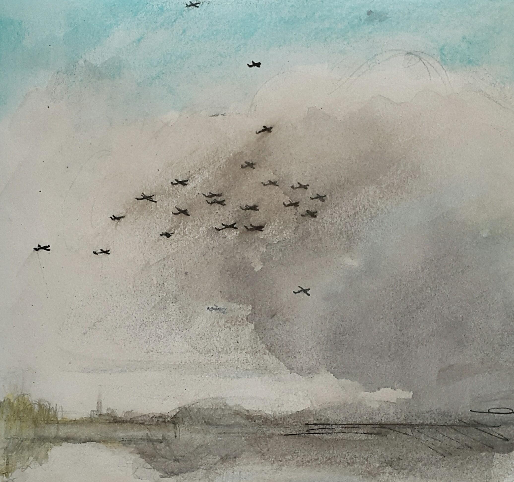 51 Adversity series,  Portent, 16x18cm, ink & watercolour on paper