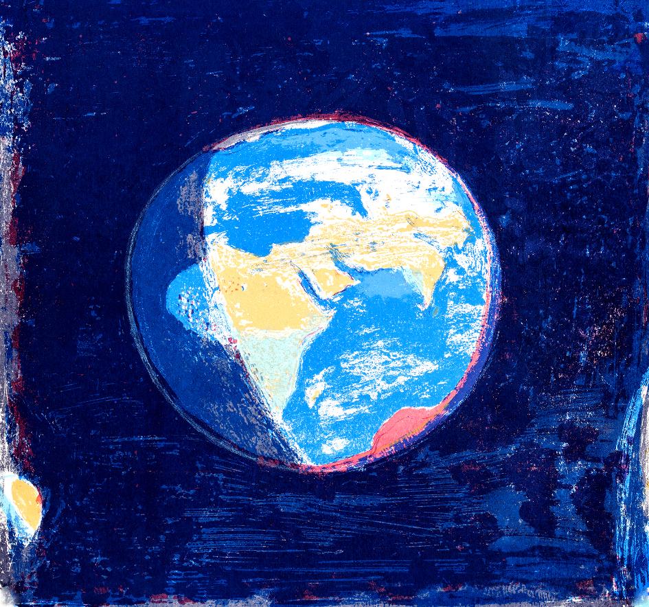 45 Blue Marble, 60x62cm, screen print, ed of 3