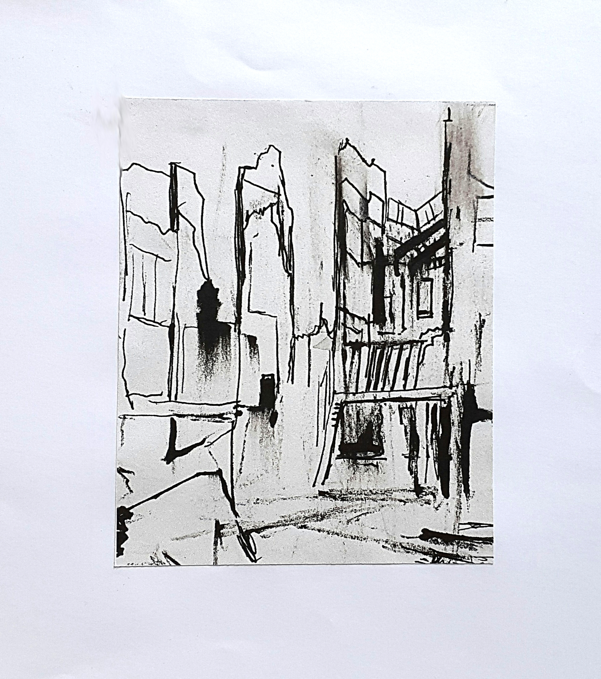 53 Aftermath series 1, 15 x 12 cm, ink and charcoal on paper