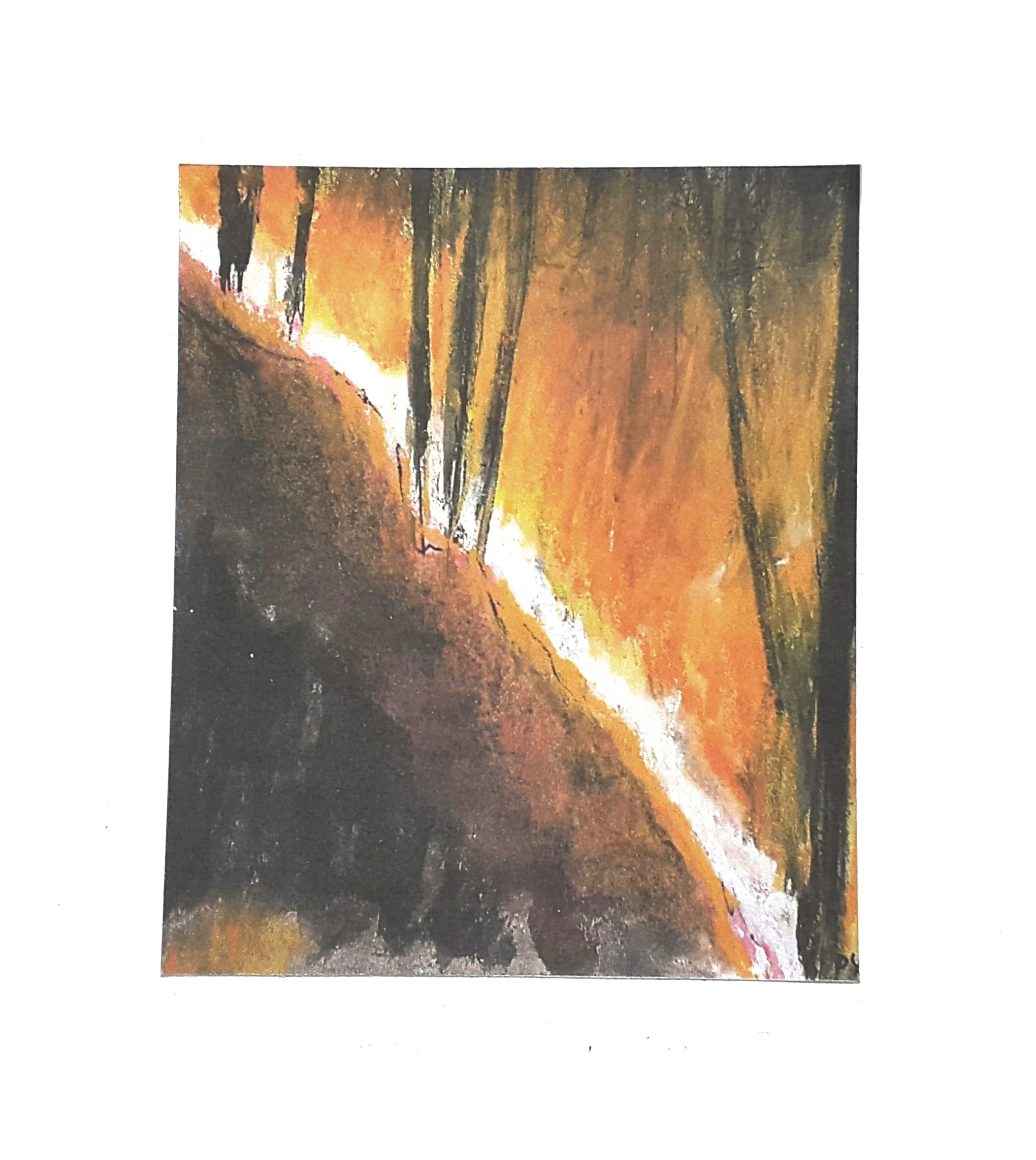 57 Adversity series, Wildfire, 10 x 12 cm, pastel and mixed media on paper