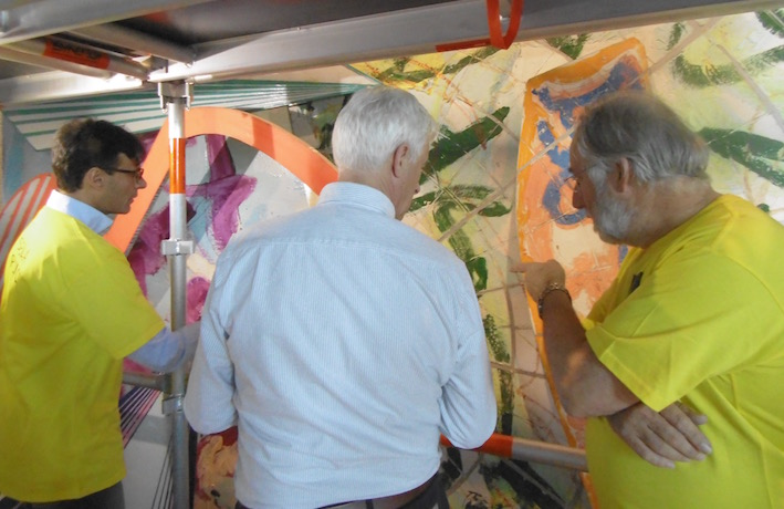 Consulting with conservator Andrew Durham