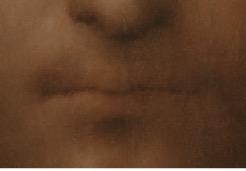 Detail showing the mouth of Salvator Mundi. Photo Credit: Tim Nighswander/Imaging4Art.