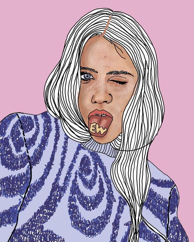 "Illustration by Sophie Brampton based on commercial photographer Mollie Rose Skeffington's shoot ""Yo"" for Sticks and Stones Magazine."