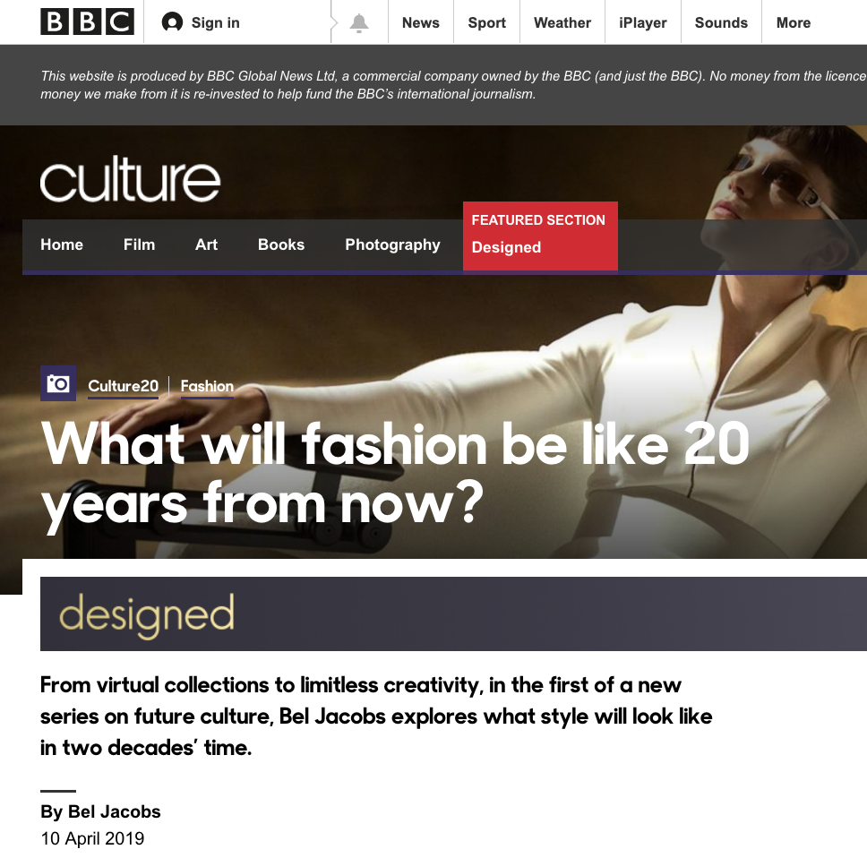 BBC DESIGNED - What will fashion be like in 20 years from now?