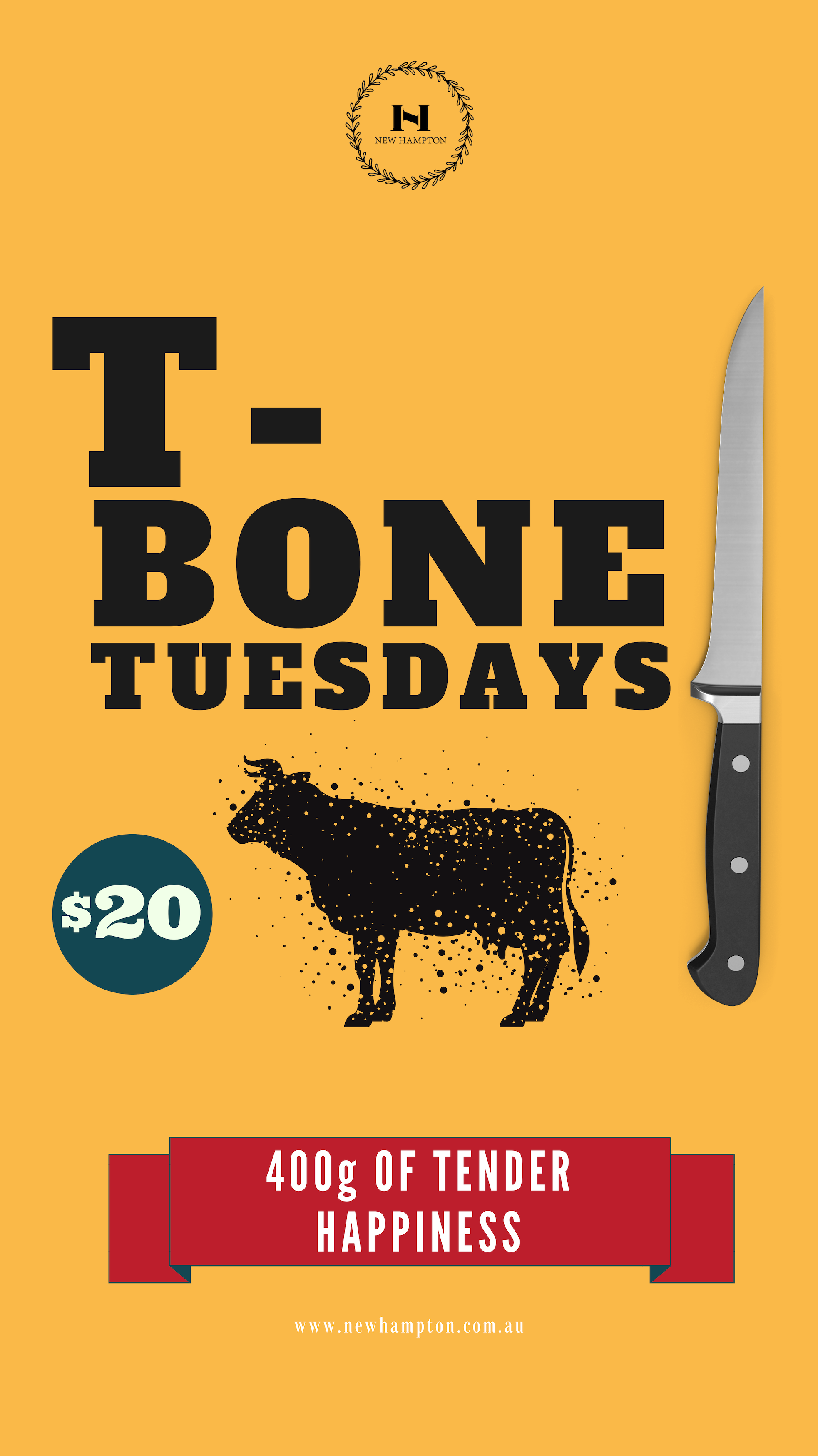 T-Bone Tuesday's - The New Hampton's Absoutly insane mouth-watering T-Bone Steak is only $20!