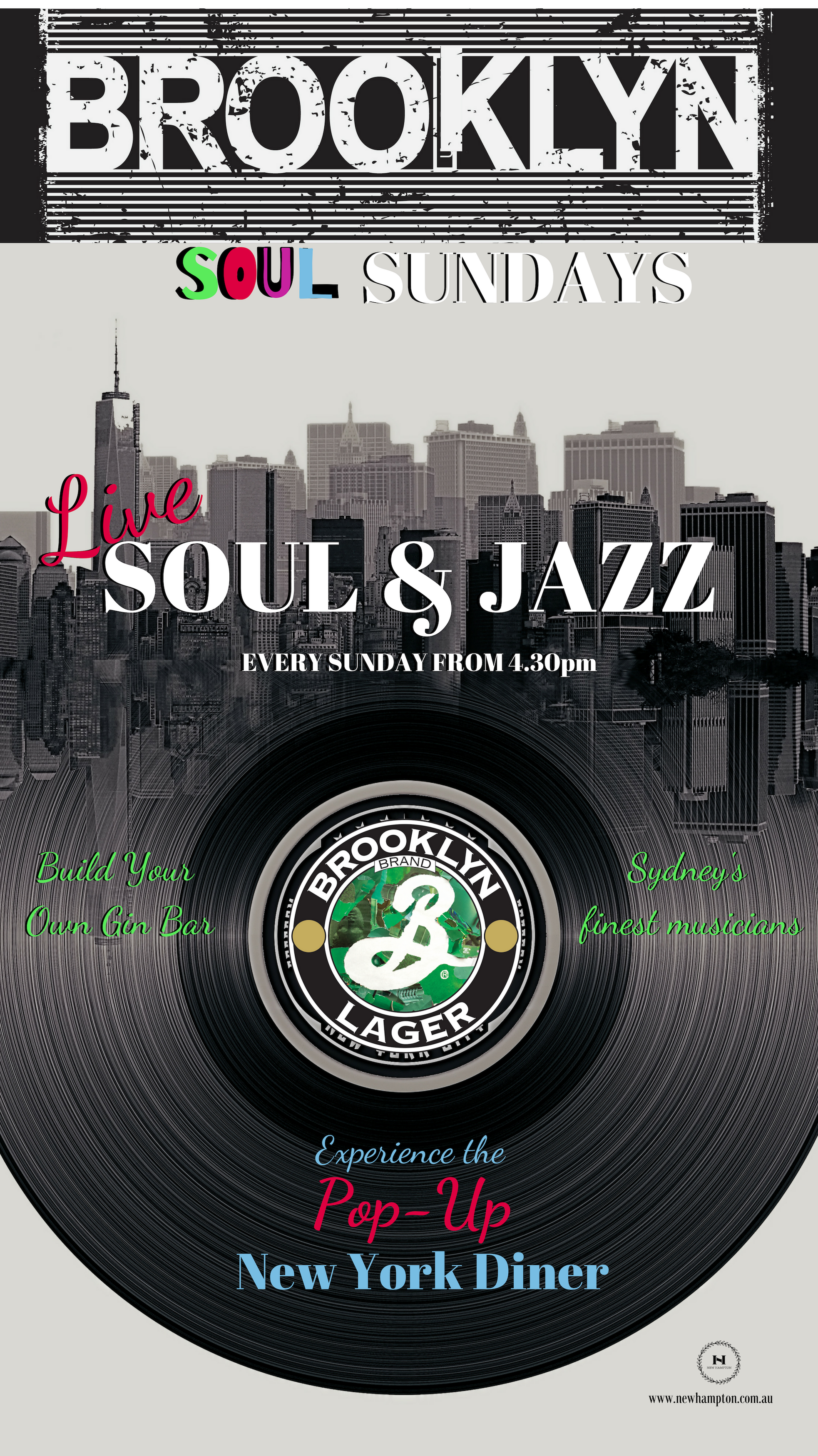 Brooklyn Soul Sundays - Pints of Brooklyn Larger $10, live soul and jazz bands and musicians, and world famous Ktaz Ruben sandwiches. Come kick back Sunday arvo'a at The New Hampton