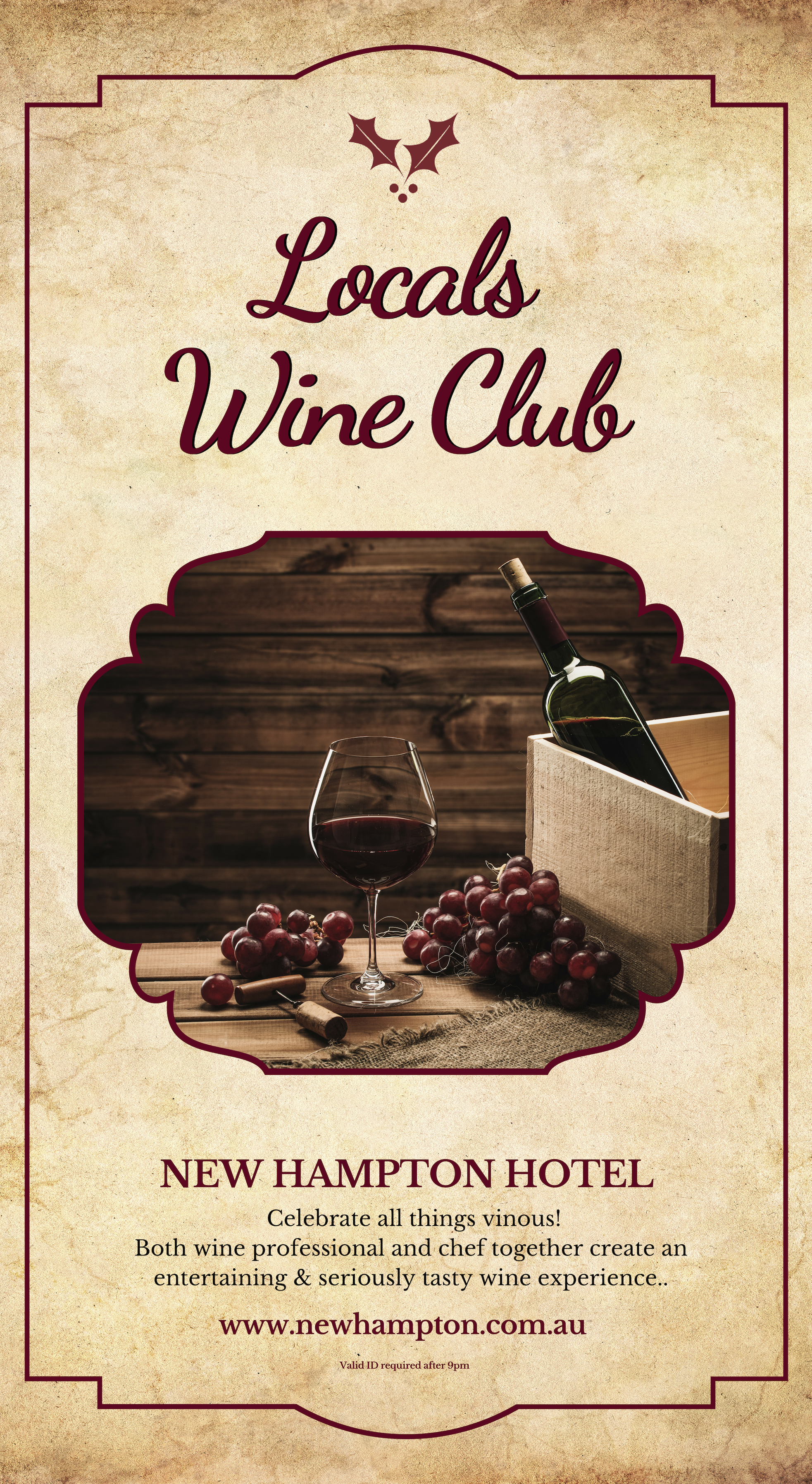 Local's Wine Club - Held the first Thursday every month, come and explore wines of the world with matching canapes, Hosted by our Wine Educator Paul Crighton & head Chef Aron Johnson.Buy tickets online now