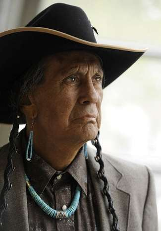 Russell Means, former leader of the AIM (American Indian Movement), poses for a portrait Friday, April 27, 2012 at Augustana College in Sioux Falls, S.D. Photo by Jay Pickthorn - Sioux Falls  Argus Leader
