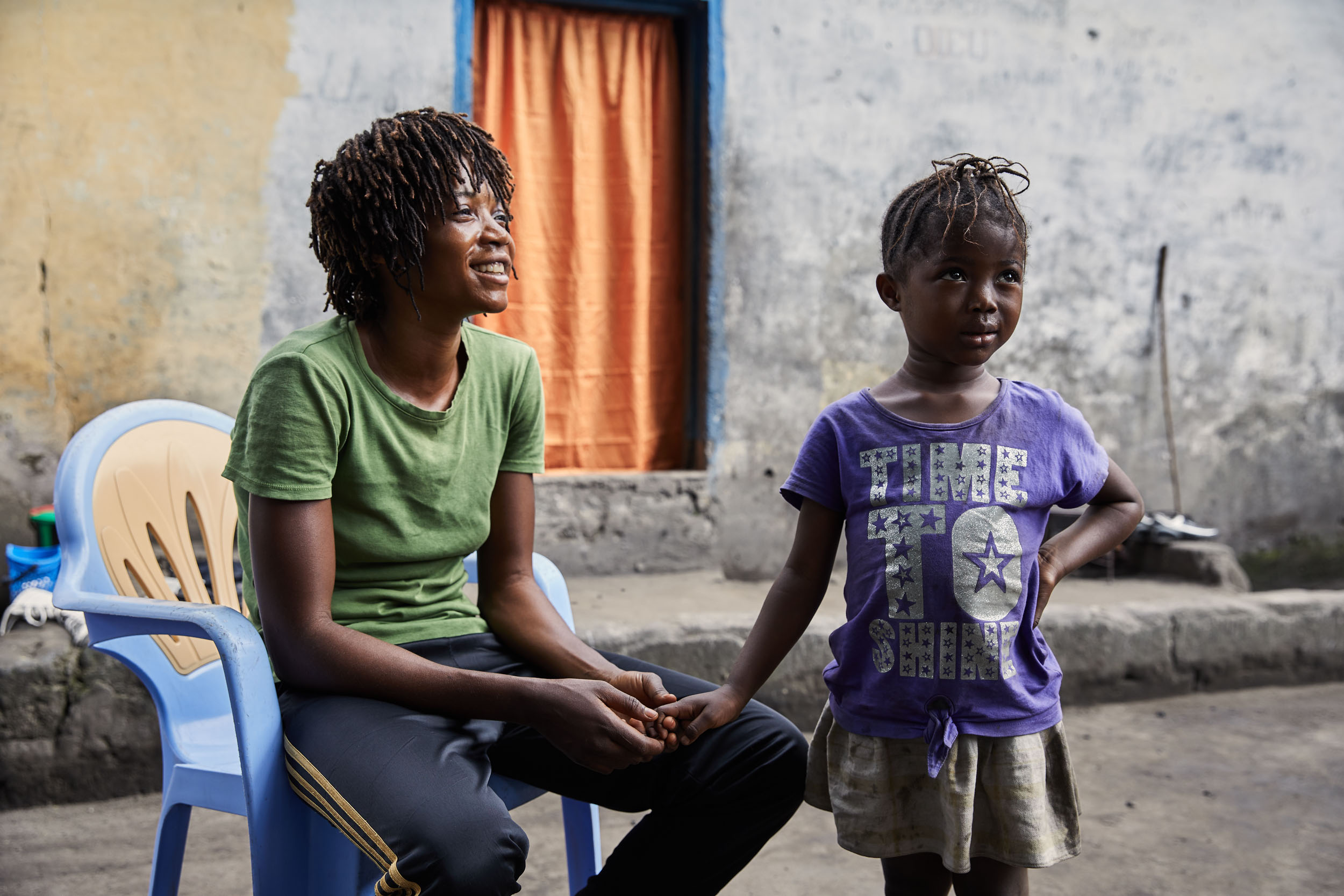 Miki Ndaya and her daughter Princess at home in Kinshasa.