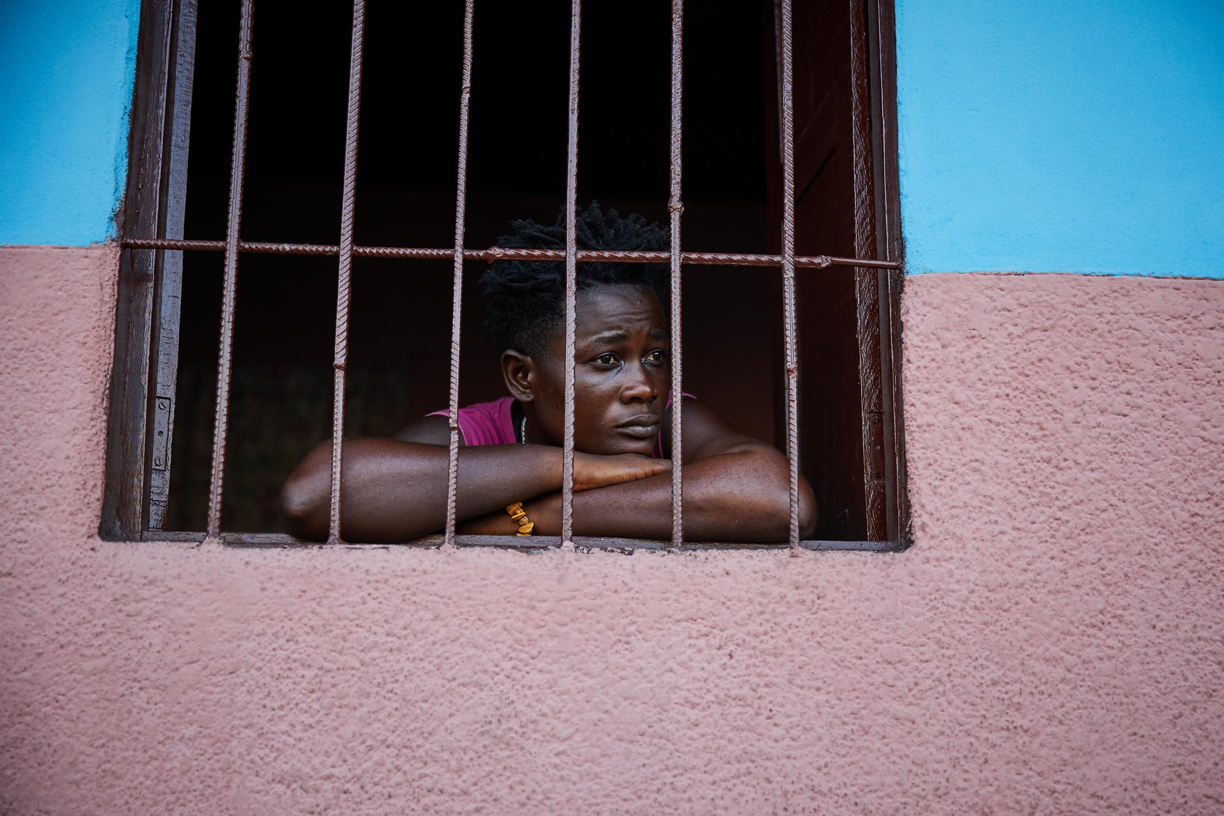 Jorbelle Malewu, one of Kinshasa's female boxers, at home. Jorbelle is the only female middleweight boxer in Kinshasa.