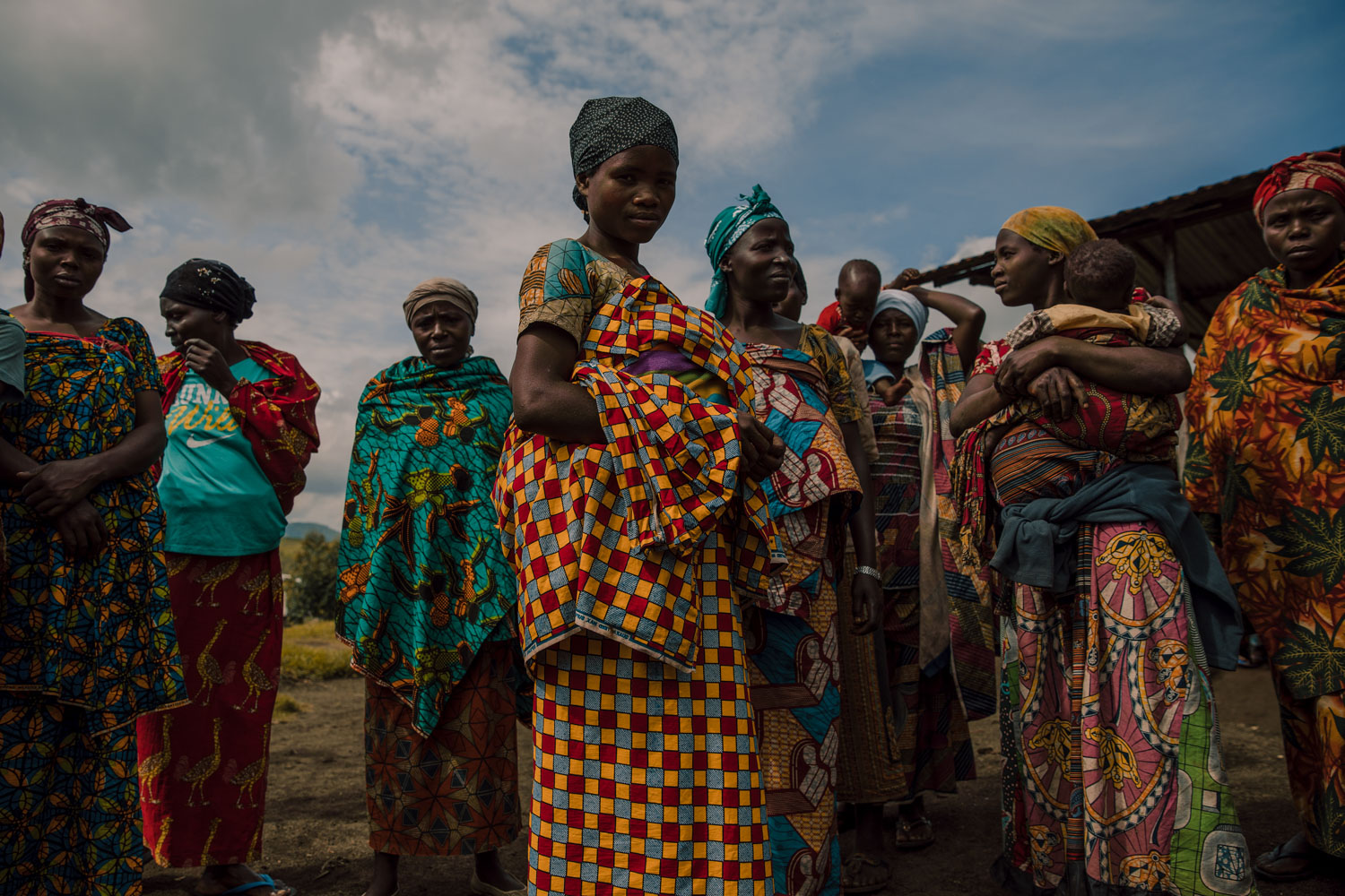 A group of mothers wait for appointments at the clinic in an IDP camp in North Kivu.
