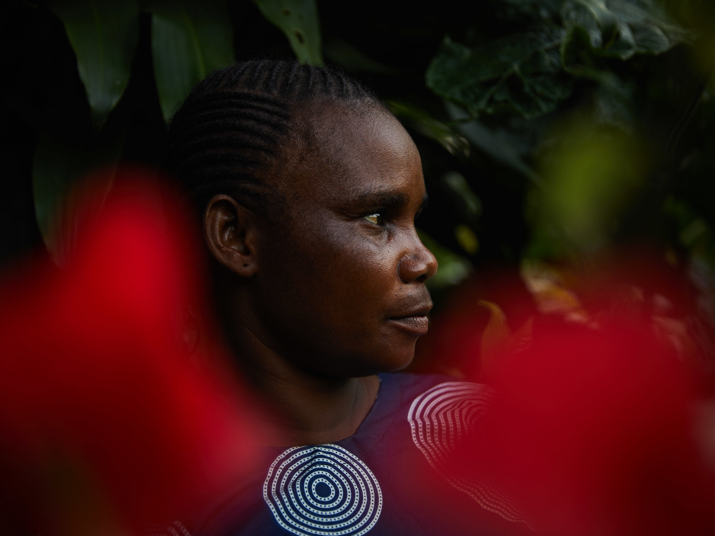 Monique Dongo, a victim of snakebite when she was inspecting her land on the outskirts of Mbandaka, Equateur Province. She lost consciousness in the bush, far from any health clinics. Luckily, she made a full recovery.