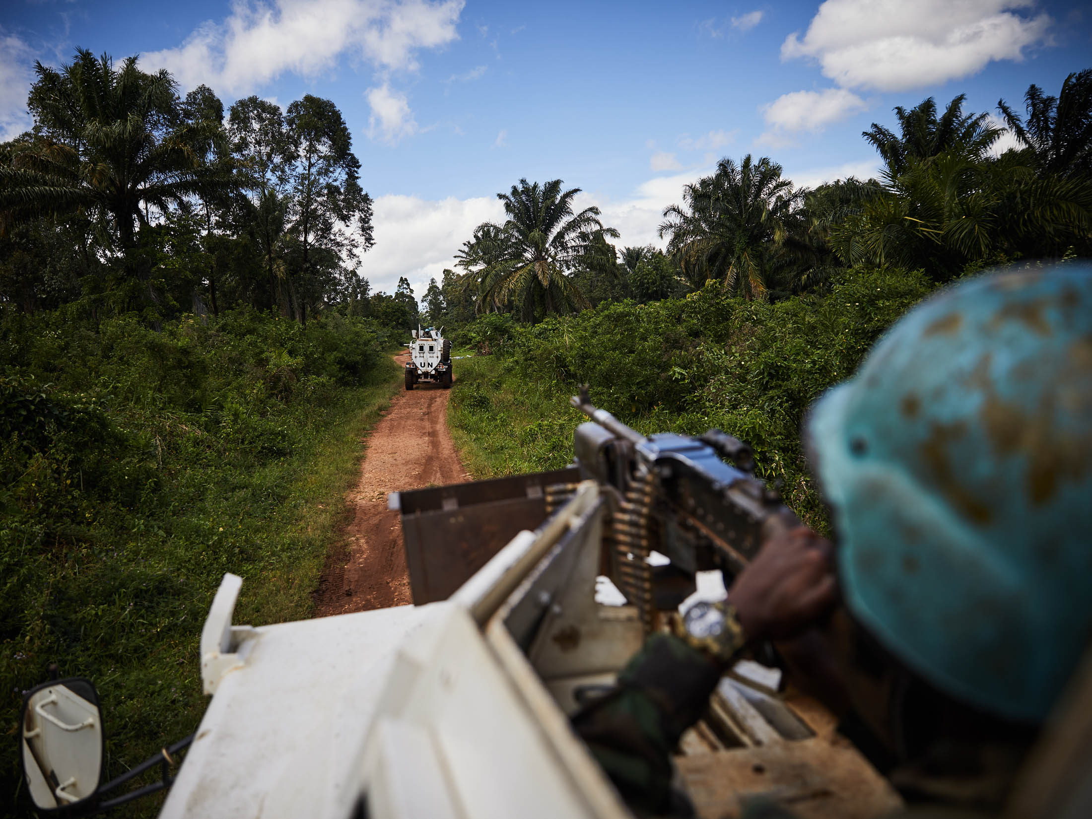 Malawian Troops of the United Nations Force Intervention Brigade patrol in Beni Territory. Response to the ongoing Ebola crisis in North Kivu is hampered by rebel attacks in the region.