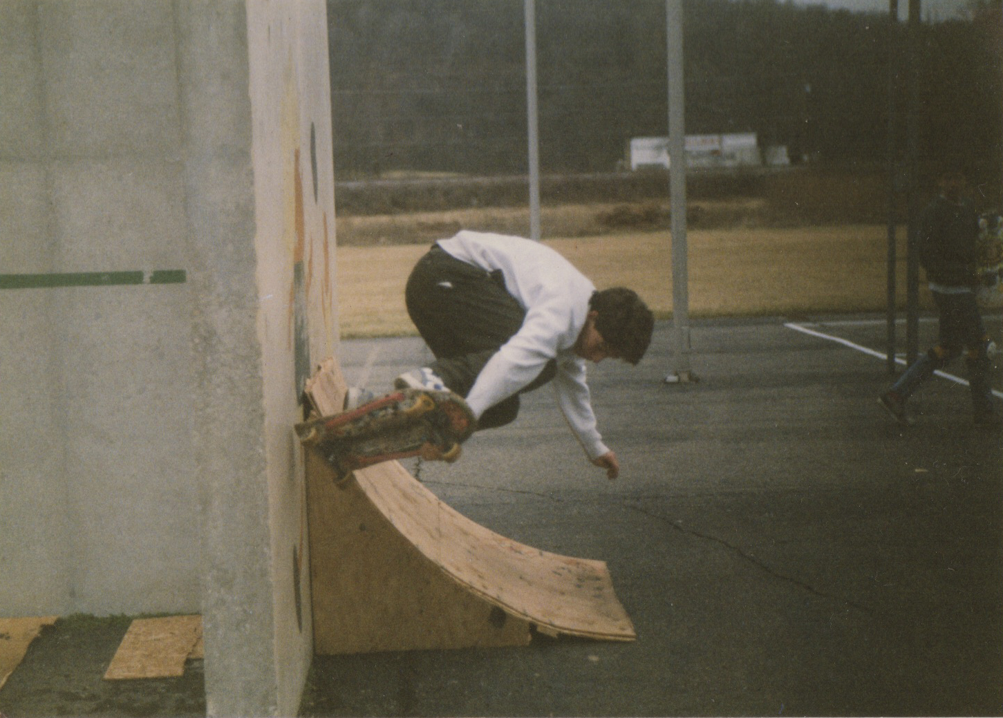 Craig Dransfield airs off one of the wooden ramps on the handball court.  Photo Courtesy of Craig Dransfield