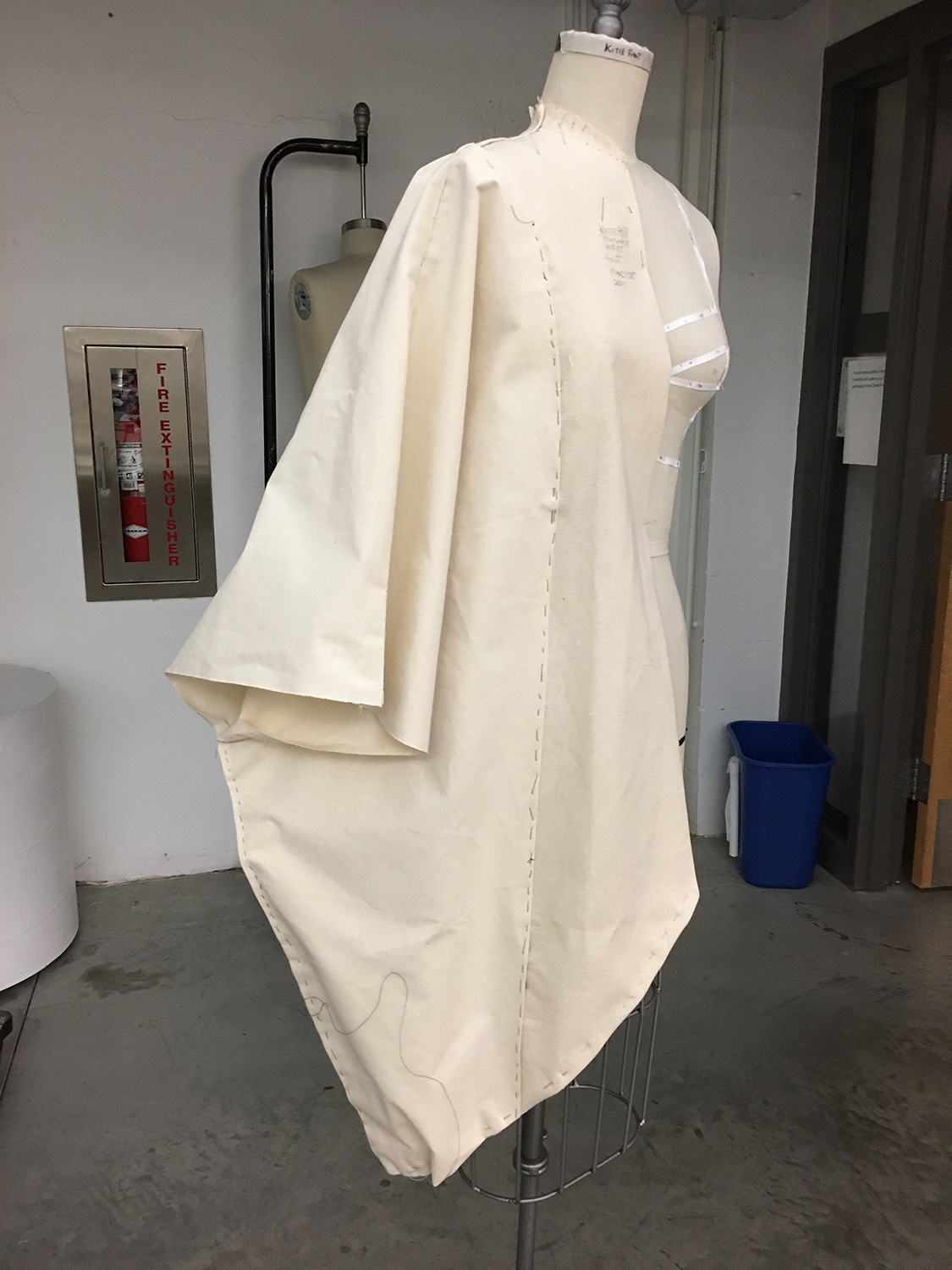 Originally, draped in canvas, I basted together the drape and marked the seam lines.