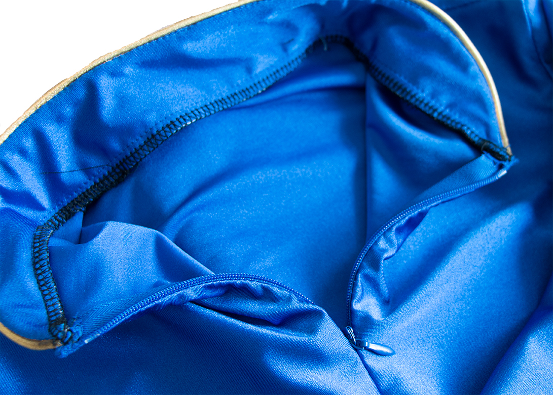 """Invisible Zipper Application and serge finished """"race collar"""". Minimized bulk which quickly becomes visible with a thin spandex material. Outer collar interfaced for shape purpose."""