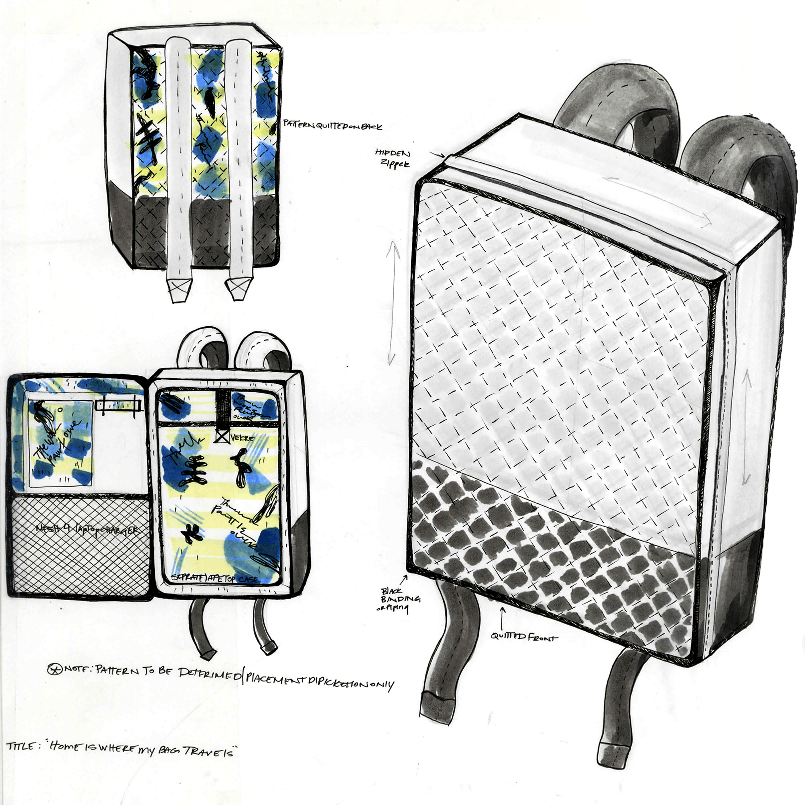 Final Sketch. Because of time, I was instructed to scratch the left hand internal organizers.