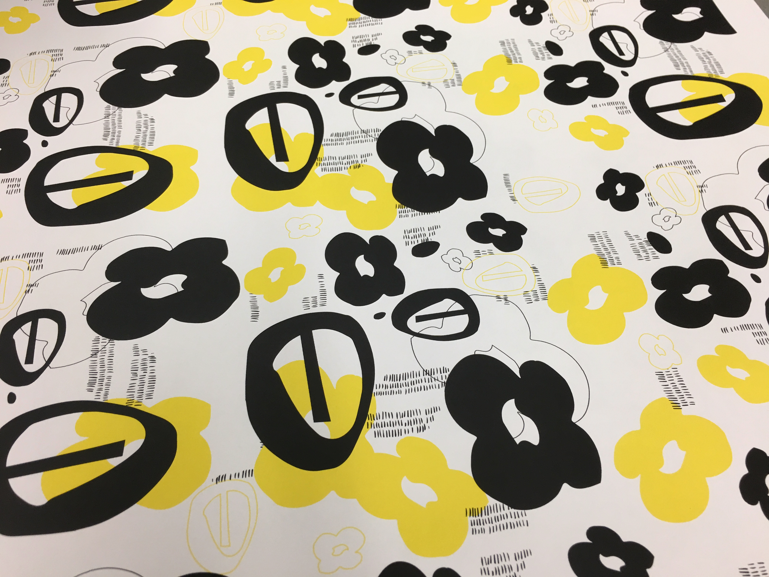 ScreenPrint on Paper, Layering Repeats, Shapes Developed From Cut Paper