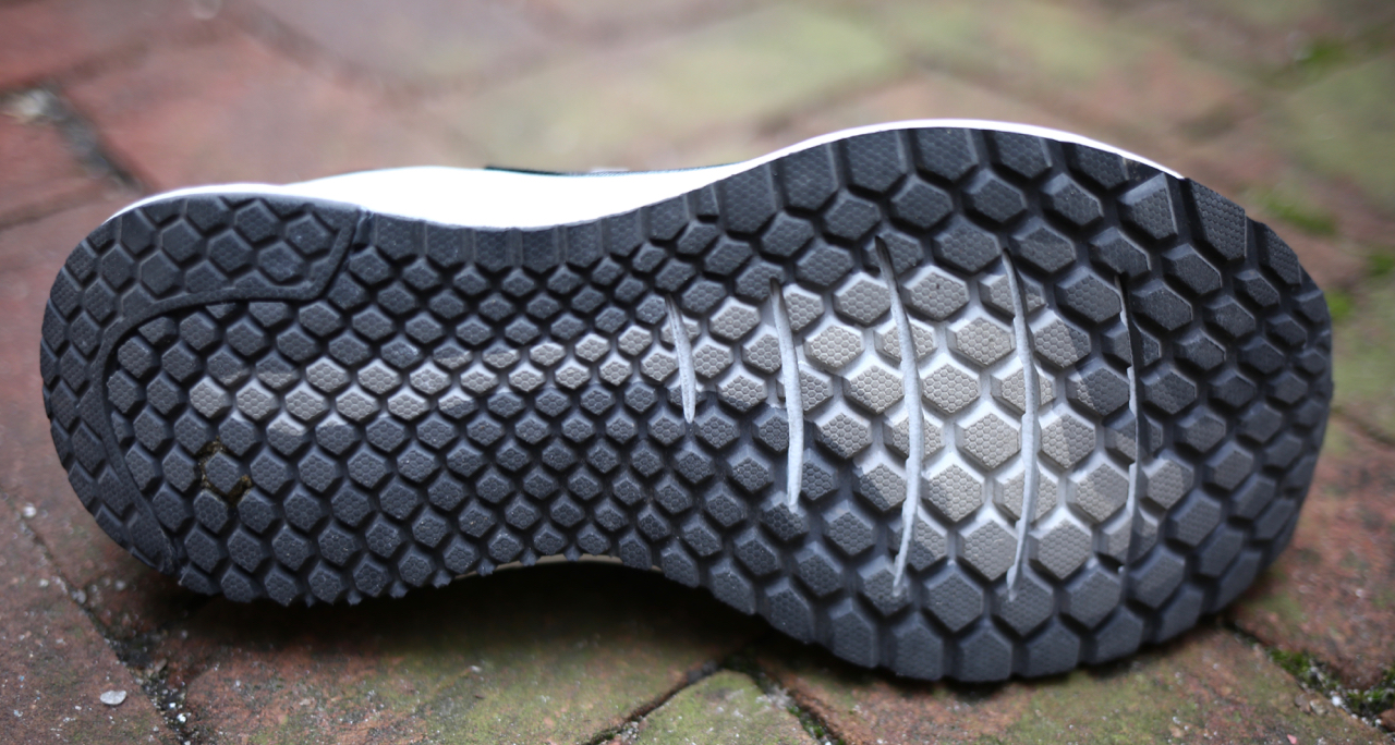 The full contact outsole is both durable, grippy and flexible. Note the cut outs directly under the main flex area of the foot. They work.