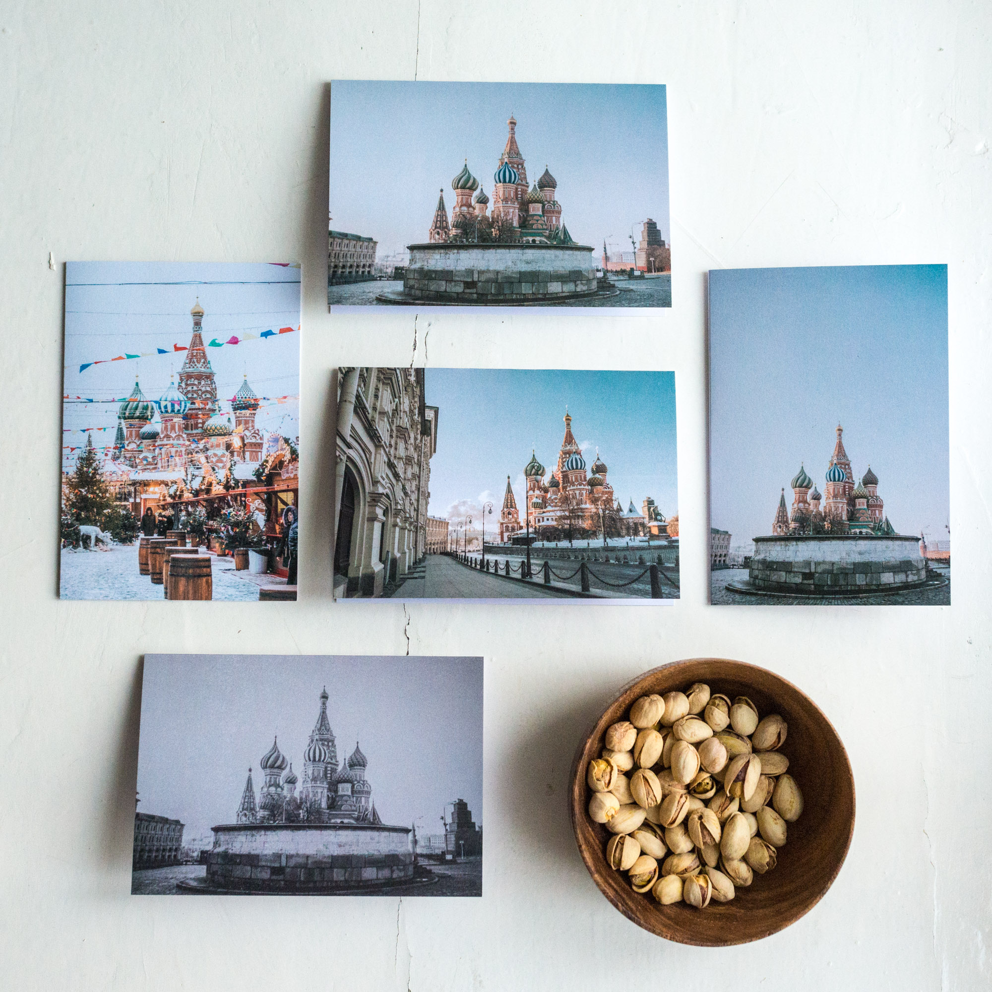 St. Basil's Card Set - Five 10 x 15 folded blank cards with envelopes500 Rub. each2 or more sets - 450 Rub. each