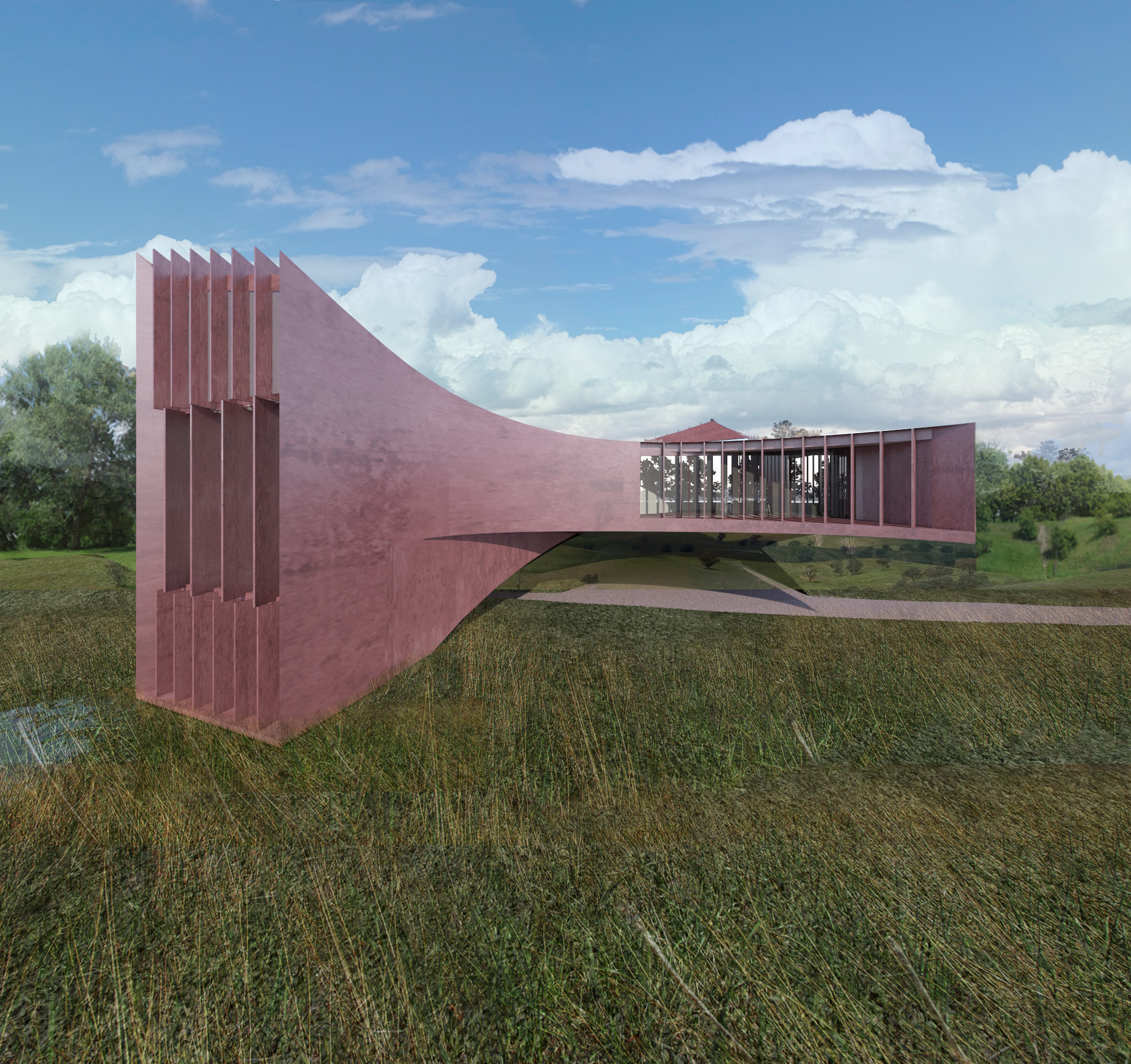 """Villa Sigma , Rupelmonde Belgium   FINALIST WAF AWARDS """"Best Building of 2017""""   Located in Rupelmonde, in a park of 3.5 hectares on the banks of the river Schelde, a dynamic sculpture comprises a villa with an office space and a maisonette. By interpreting it as a bridge-like structure, since the ground is in floodplain, residents enjoy the spectacular panoramic views over a nature reserve, while they dominate their entire property. The flowing shape of the building renders the logical structural answer to the bridge-concept."""