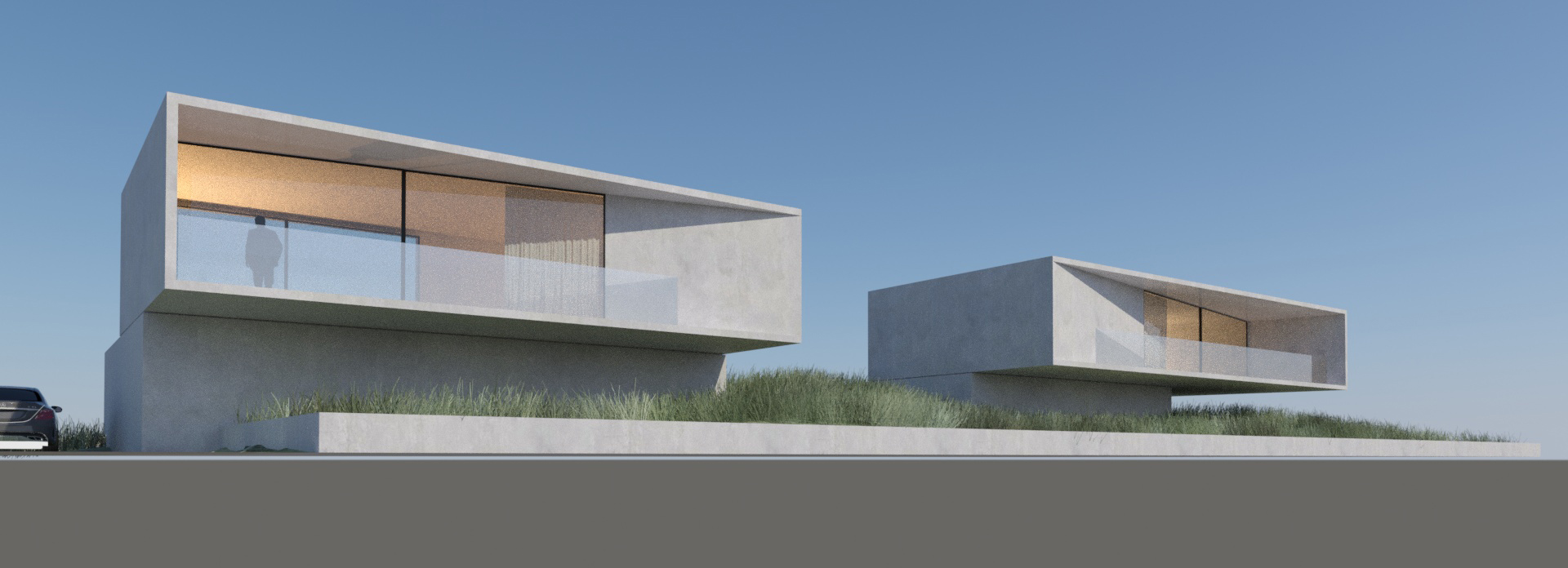 Gemini,  Oostduinkerke Belgium  2 summer houses with perfect views. Side by side, seemingly similar but different.  Application of precast concrete panels. (2)