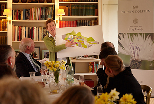 Rosy presents her design for Brewin Dolphin's sixth RHS Chelsea Flower Show garden to the gardening media