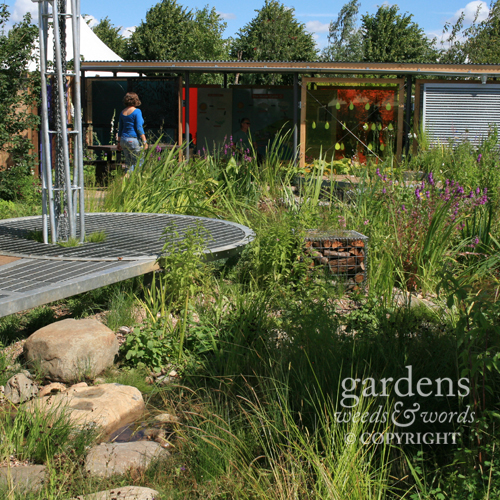 The two main rain havesting structures in the  Working Wetlands  garden by Jeni Cairns, the pavillion on the left, and the visitor information centre across the back.