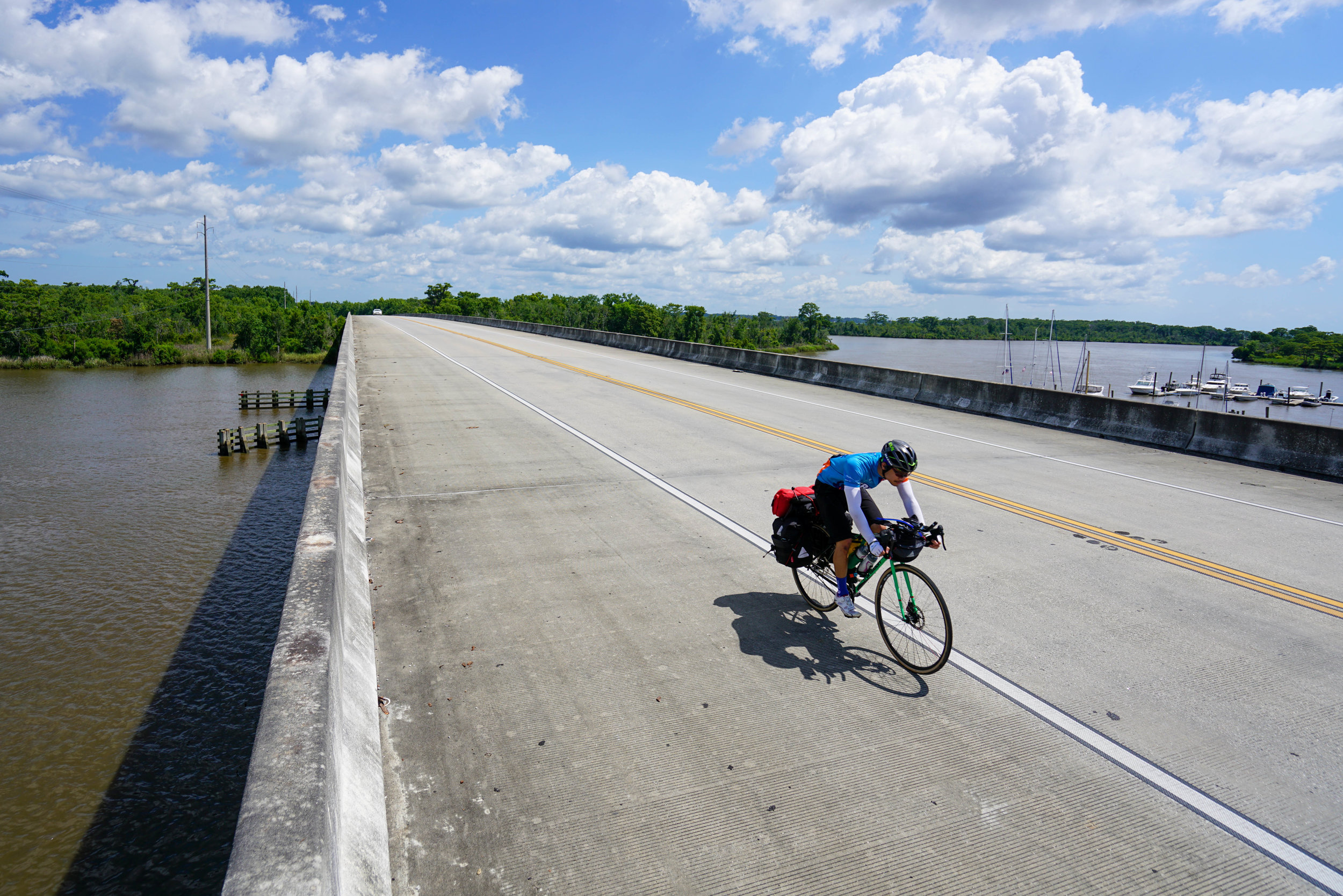 David Dam rides along USBR 1 in Coastal Georgia for the Children's Cancer Research Fund. June 2019.  Photo: Russell Oliver