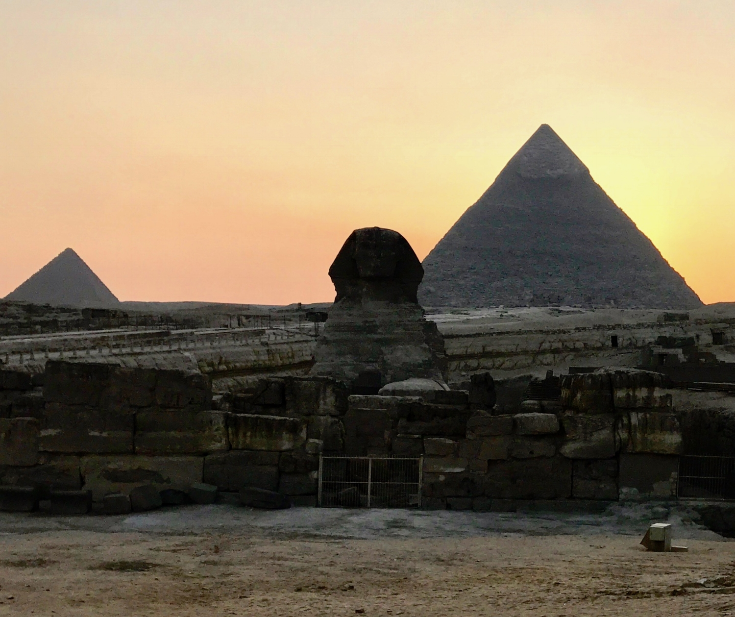 Sphinx and Pyramid of Khafre at sunset