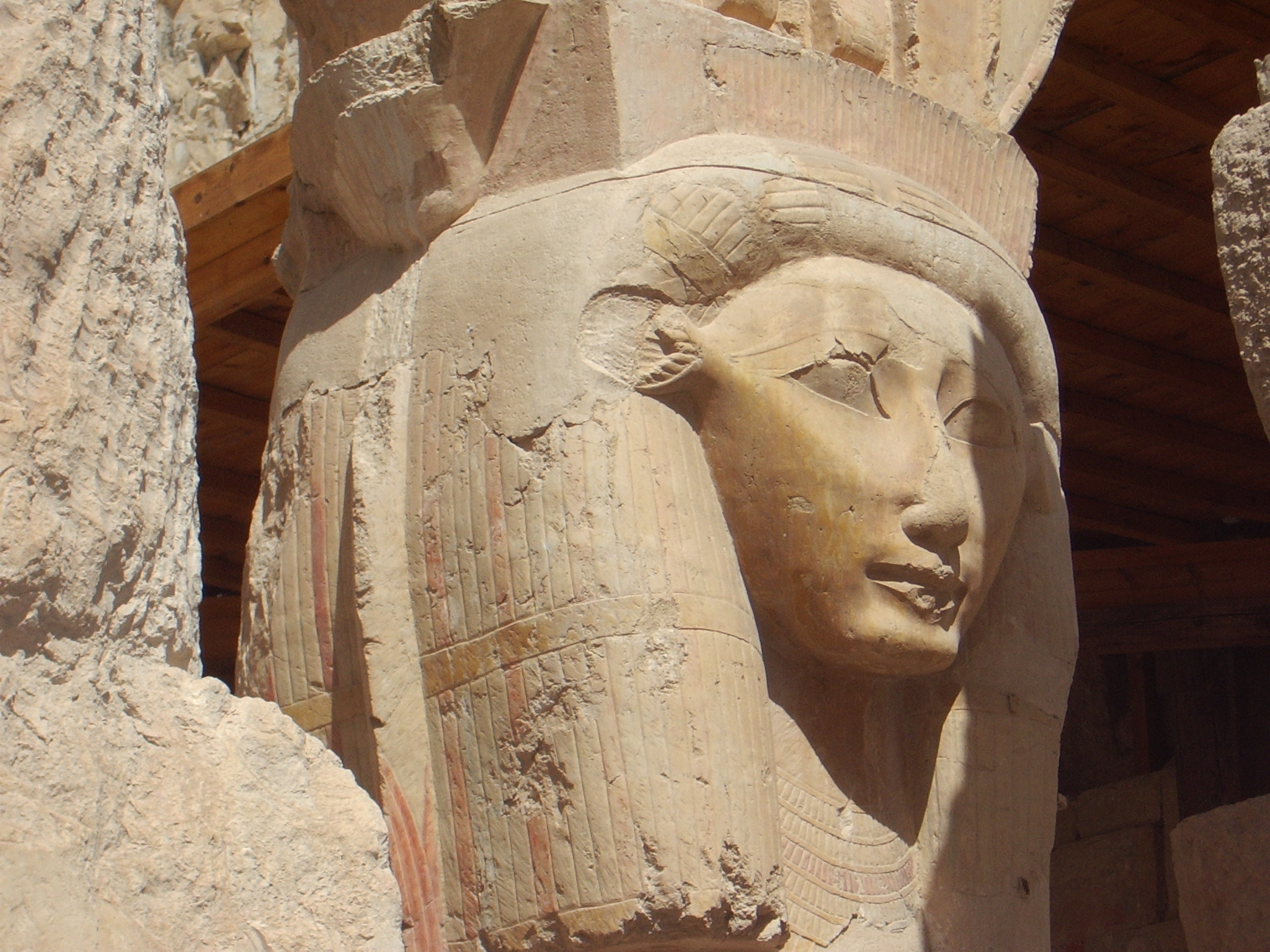 Beautiful Hathor statue in the Hathor Temple at Hatshepsut Temple