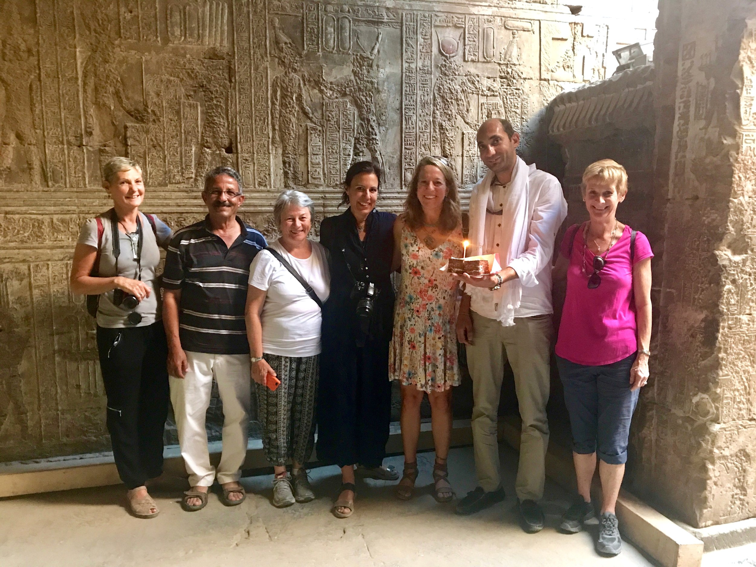 Oct 2017 Katherine's 50th birthday party at Nut Chapel in Temple of Hathor at Dendera