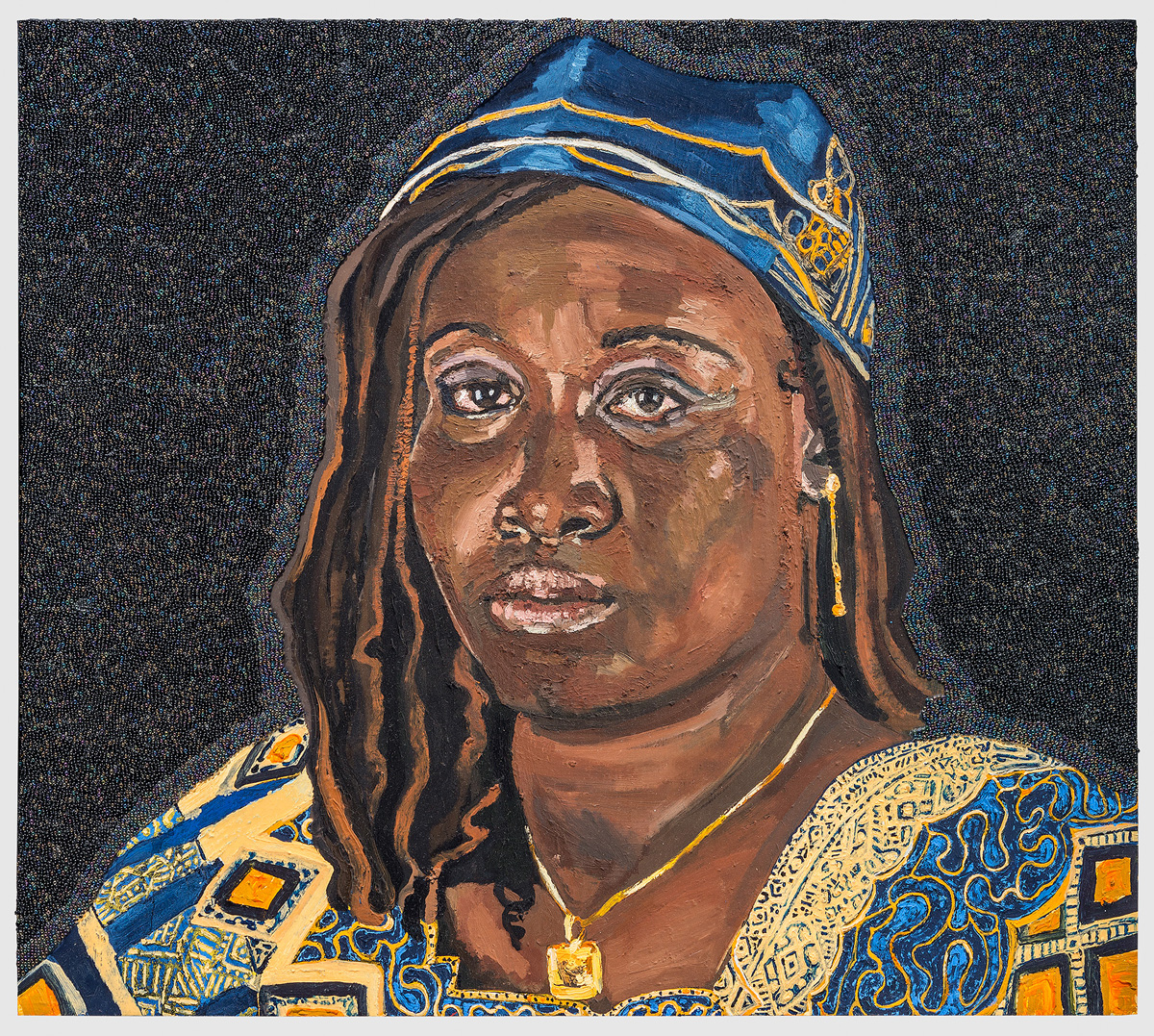 Icons From A Broken World:  Rebecca Kothia Kuany Mabior, oil paint, encaustic and glass beads on true gesso panel, 18 inches by 24 inches, 2014.
