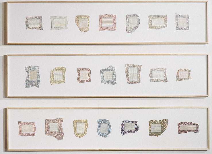 ¨Reliquary 1-21¨ (total projected 44+) , thread, gesso, oil paint and collage on paper, each panel 84 in x 24 in, 2000-ongoing.