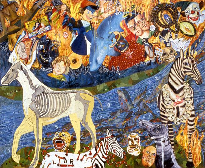 In My Spanky-Wanky World , oil paint on canvas, 102 in x 126 in, 1997-1999.