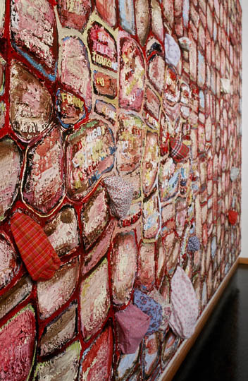 Side-view of  A Tall Wall Surrounds Me , oil paint, fabric and stitching on canvas, 1999-ongoing.
